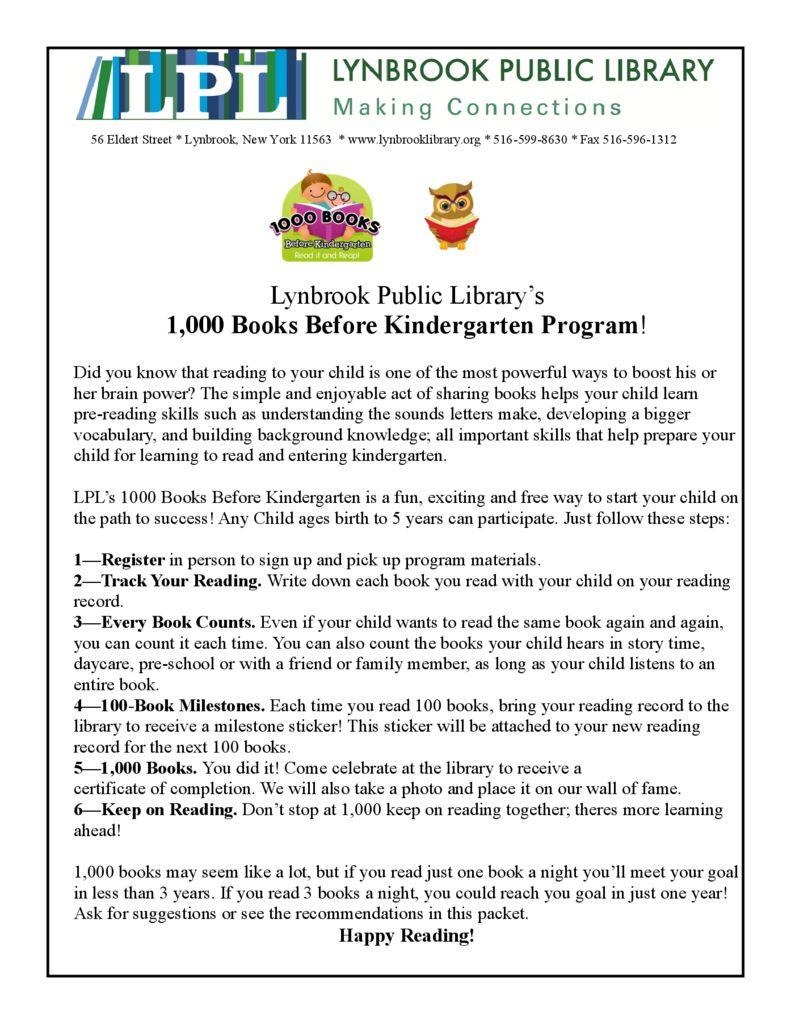 thumbnail of 1000 books before Kindergarten